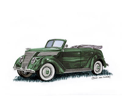 Following Painting - 1937 Ford 4 Door Convertible by Jack Pumphrey