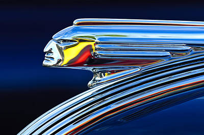 Chrome Photograph - 1939 Pontiac Silver Streak Chief Hood Ornament by Jill Reger