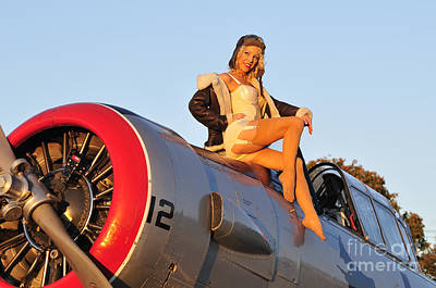 Photograph - 1940s Style Aviator Pin-up Girl Posing by Christian Kieffer