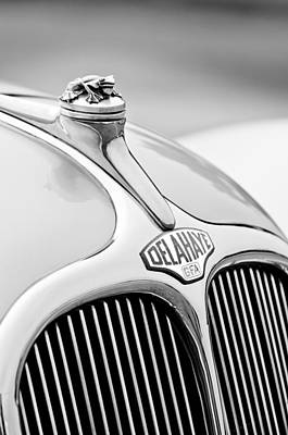 Delahaye Photograph - 1947 Delahaye 135 Ms Langenthal Coupe Hood Ornament And Emblem by Jill Reger