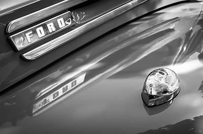 1949 Ford F-1 Pickup Truck Emblem -0027bw Print by Jill Reger