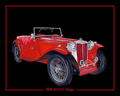 Painting - 1949  M G   T C  Midget by Jack Pumphrey