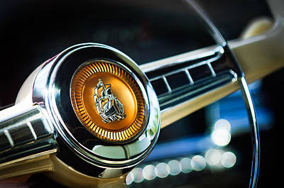 Photograph - 1949 Plymouth P-18 Special Deluxe Convertible Steering Wheel Emblem by Jill Reger