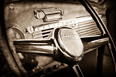 Chevy Truck Photograph - 1950 Chevrolet 3100 Pickup Truck Steering Wheel by Jill Reger