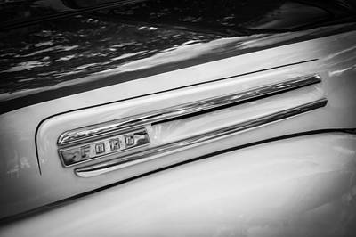 Antique Ford Truck Grill Photograph - 1950 Ford Pick Up Truck F100 Bw  by Rich Franco