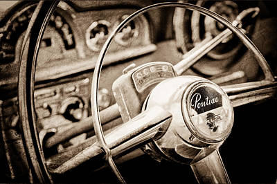 Photograph - 1950 Pontiac Steering Wheel Emblem by Jill Reger