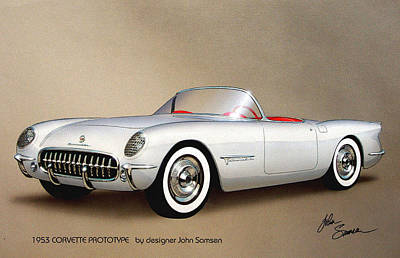 Sketch Painting - 1953 Corvette Classic Vintage Sports Car Automotive Art by John Samsen