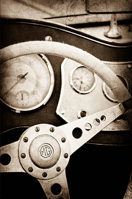 Photograph - 1953 Mg Tdc Steering Wheel by Jill Reger