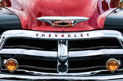 Antique Car Photograph - 1955 Chevrolet 3100 Pickup Truck Grille Emblem by Jill Reger