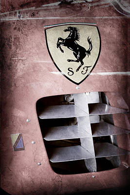 1956 Ferrari 500 Tr Testa Rossa Side Emblem Art Print by Jill Reger
