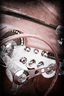 1957 Chevrolet Corvette Steering Wheel Art Print by Jill Reger