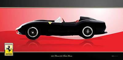 Digital Art - 1957 Ferrari 250 Testa Rossa With 3d Badge by Serge Averbukh