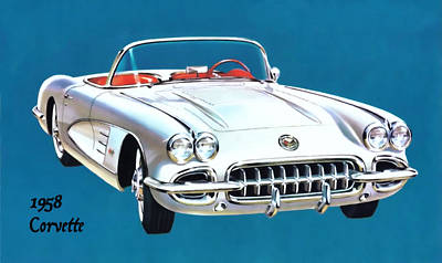 Digital Art - 1958 Corvette by Walter Colvin