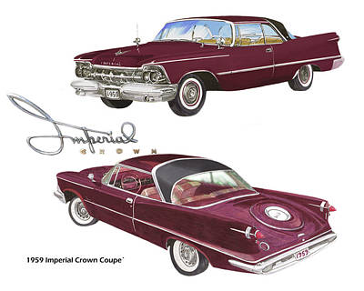 Painting - 1959 Imperial Crown Coupe by Jack Pumphrey