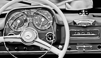 1959 Mercedes-benz 190 Sl Steering Wheel Art Print by Jill Reger
