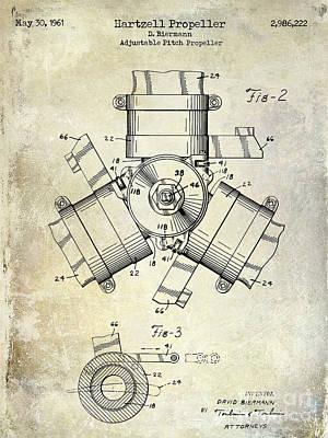 1961 Propeller Patent Drawing Art Print by Jon Neidert