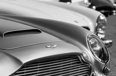 Photograph - 1966 Aston Martin Db6 Hood Emblem -1176bw by Jill Reger