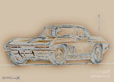 Digital Art - 1967 Corvette by J McCombie