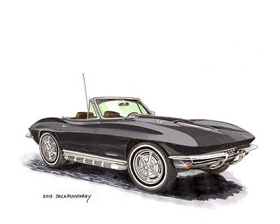 Painting - 1967 Corvette Stingray Convert. by Jack Pumphrey