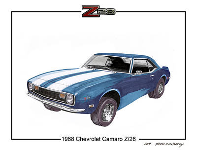 1968 Chevrolet Camaro Z 28 Art Print by Jack Pumphrey