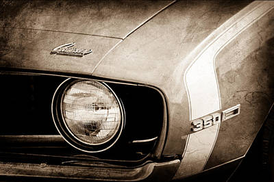 Chevy Ss Wall Art - Photograph - 1969 Chevrolet Camaro Ss Headlight Emblems by Jill Reger