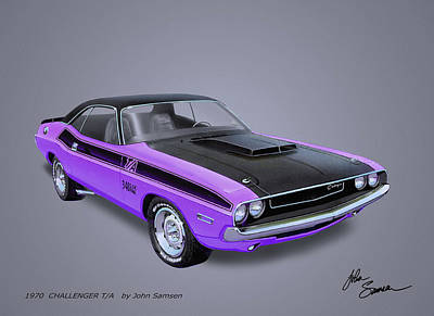 Roadrunner Digital Art - 1970 Challenger T-a  Muscle Car Sketch Rendering by John Samsen