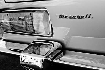 Photograph - 1971 Maserati Ghibli 4.9 Ss Spyder Taillight Emblem by Jill Reger