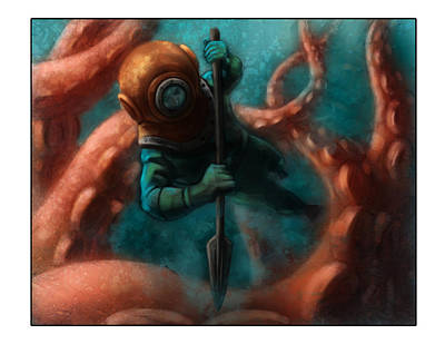 Giant Squid Painting - 20k Leagues by Barry Sachs