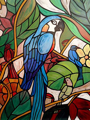 Tropical Stain Glass Painting - 3 Birds On A Vine by Cynthia Amaral
