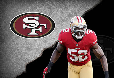 49ers Patrick Willis Art Print by Joe Hamilton