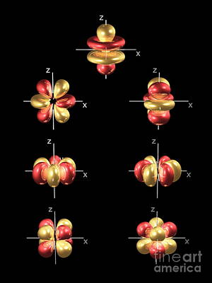 4f Electron Orbitals, General Set Art Print by Dr. Mark J. Winter