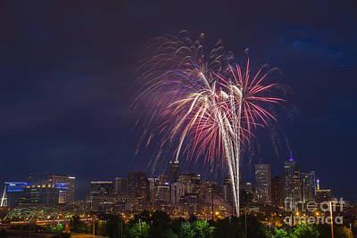 Speer Photograph - 4th Of July Fireworks Over Denver Skyline by Bridget Calip