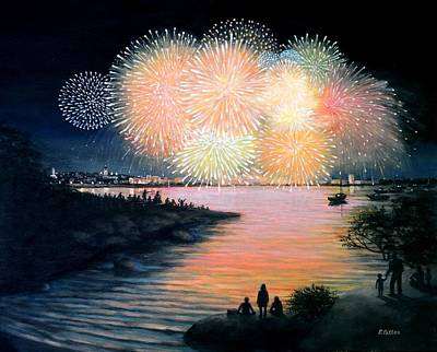 4th Of July Gloucester Harbor Art Print by Eileen Patten Oliver