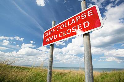 Closed Road Photograph - A Collapsed Coastal Road At Easington by Ashley Cooper