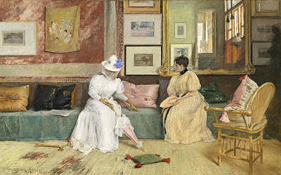 Conversing Painting - A Friendly Call by William Merritt Chase