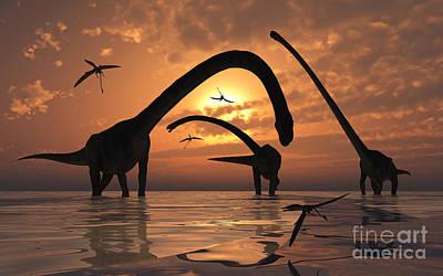 Past Twilight Digital Art - A Herd Of Omeisaurus Sauropod Dinosaurs by Mark Stevenson