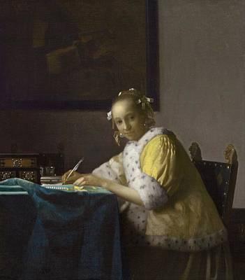 A Lady Writing Art Print by Johannes Vermeer