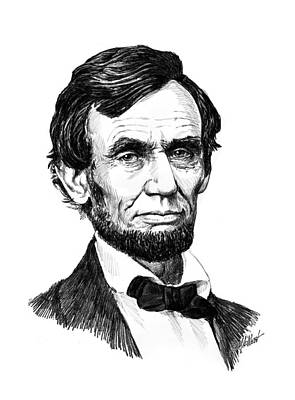 Lincoln Portrait Drawing - A. Lincoln by Harry West