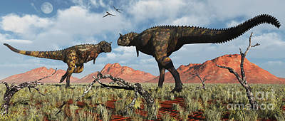 Triassic Digital Art - A Pair Of Carnotaurus Dinosaurs by Mark Stevenson