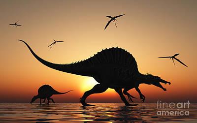 Night Fishing Digital Art - A Pair Of Spinosaurus Hunting For Fish by Mark Stevenson