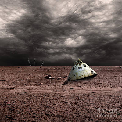 A Scorched Space Capsule Lies Abandoned Art Print