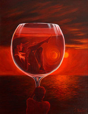 Painting - A Toast To Love And Wine by Sandi Whetzel
