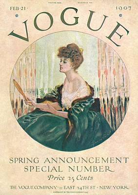 Updo Photograph - A Vintage Vogue Magazine Cover Of A Woman by Artist Unknown