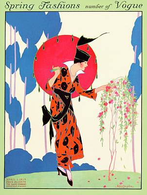 A Vogue Cover Of A Woman With A Parasol Art Print by Helen Dryden