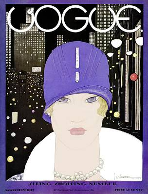 Vogue Photograph - A Vogue Magazine Cover Of A Woman by Georges Lepape