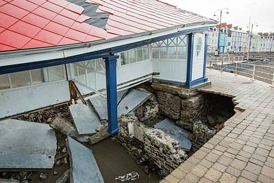 Aberystwyth Storm Damage Print by Ashley Cooper