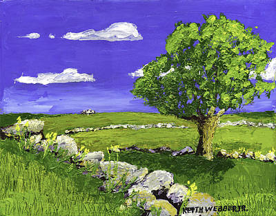 Maine Landscape Painting - Tree In Maine Blueberry Field by Keith Webber Jr