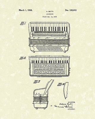 Accordion Drawing - Accordion 1938 Patent Art by Prior Art Design