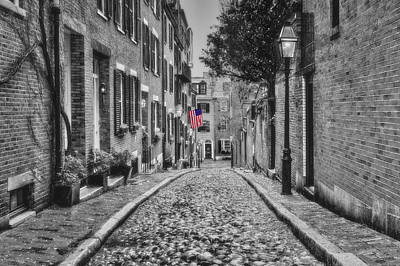 Photograph - Acorn Street Boston Bw by Susan Candelario