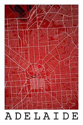 Adelaide Digital Art - Adelaide Street Map - Adelaide Australia Road Map Art On Colored by Jurq Studio